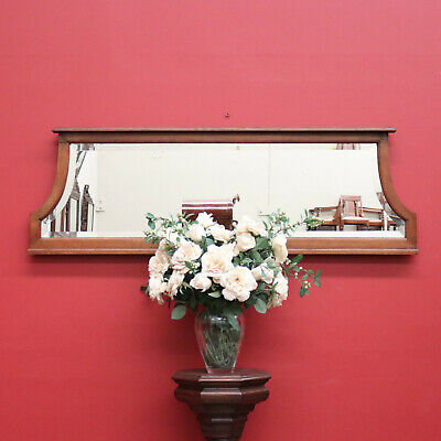 Antique English Oak Bevelled Over Mantle Mirror, Hall or over Sideboard Mirror