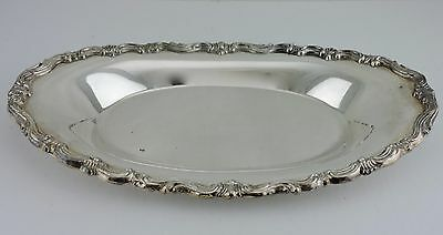 Vintage Silver Plate Oval Serving Dish Tray Ornate Rims Hollowware