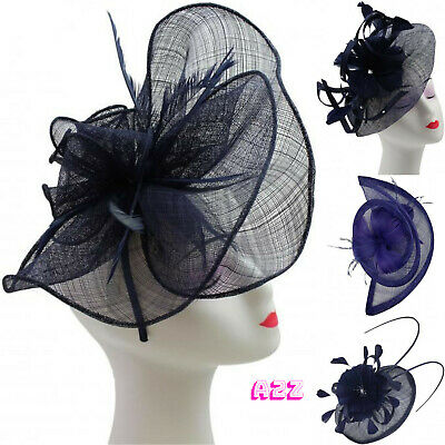 Navy Blue Large Feather Fascinator Wedding Hat Headband Ladies Day Royal Ascot U