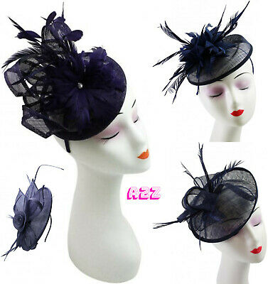 Navy Blue Large Feather Fascinator Ladies Day Royal Races Ascot Wedding Headband