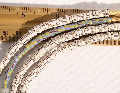 Antique White Striped & Assorted Glass Beads (2 Strands) African Trade Venetian