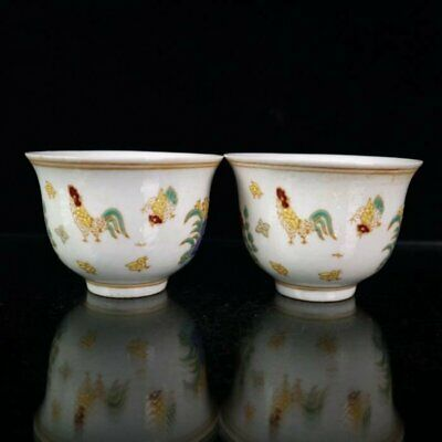 china old Ming chenghua mark Porcelain doucai chicken teacup bowl /Wc02