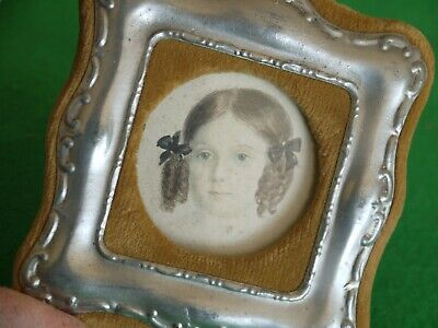 Pretty Antique Velvet & White Metal Photo Picture Frame With Stand