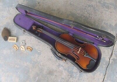 Vintage Violin w/ Bow, Case & Extras. Antique Fiddle. 4/4 Full Size.