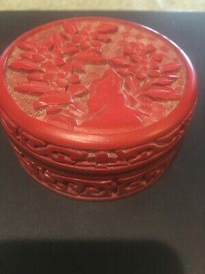 vintage Chinese Carved Cinnabar Laquer Scolars Box Flowers Old