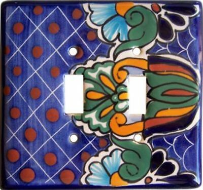 LENAPE Ceramic Toggle Switch /& Double Outlet Combo Plate Cover Blue Flowers NEW