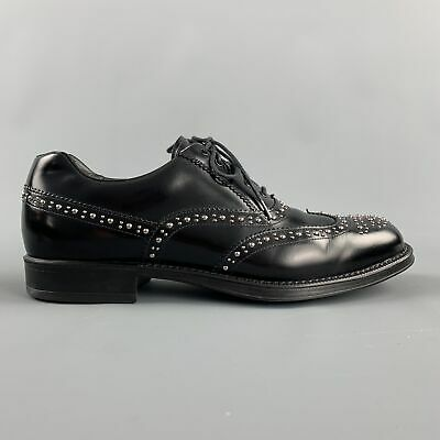 PRADA Size 9.5 Black Studded Leather Wingtip Lace Up Oxfords
