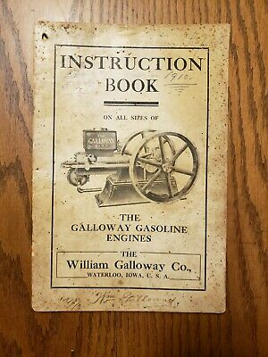 Galloway Engines Instruction Book Original Waterloo Iowa