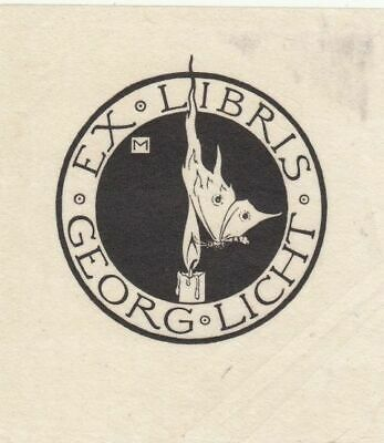 Exlibris Bookplate Cliche Marcus Behmer 1879-1958 Butterfly Candle