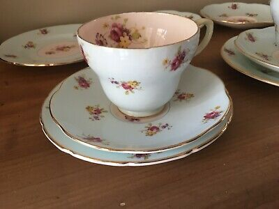 Antique Foley English Bone China Trio Set 13 Pieces Floral