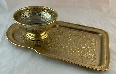 Middle Eastern Persian Turkish Tray Bowl For Samovar Hand Chased Gold Metal