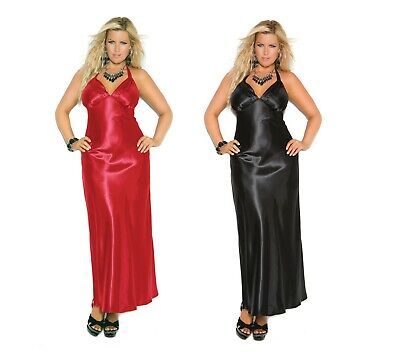 Womens Gown Charmeuse Satin Halter Long Nightgown Plus Size  1X 2X 3X