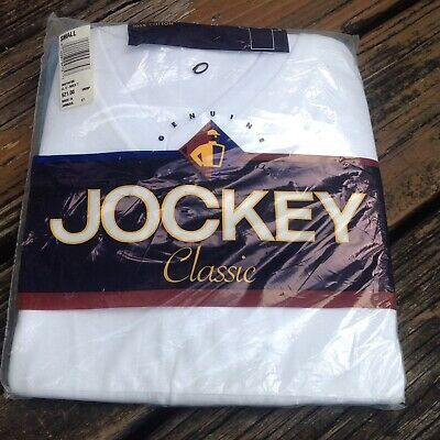 Vtg Jockey Classic Mens White V Neck T Shirt S 3 Pk Cotton 1990s Deadstock 90s