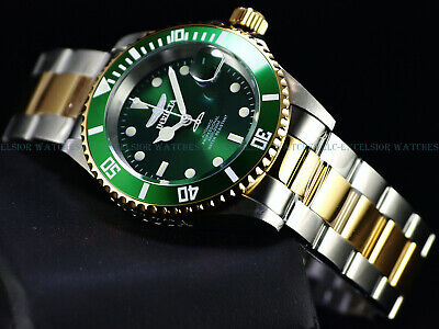 Invicta Mens Original Coin Edge PRO DIVER NH35 Automatic Gd 2Tone SS Green Watch