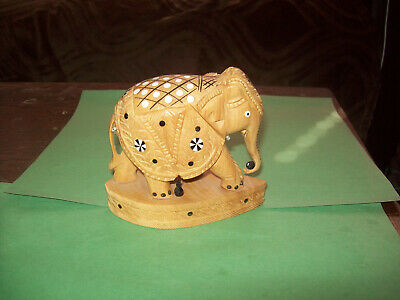 Wood Carved Indian Elephant Statue  Figurine On Base