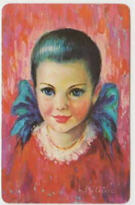 Q505  Vintage Swap Cards girl in red dress with pig tails