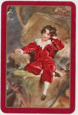Q394  Vintage Swap Cards boy  in red velvet outfit . english painting