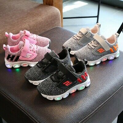 Kids Baby Girls Boys Light Up LED Trainers Sneakers Shoes Toddler Sports Shoes