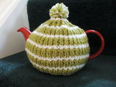 Hand knitted tea cosy, small fits two cup teapot, lime green