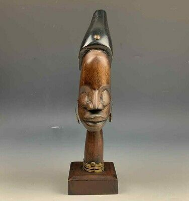 African Tribal Head Bust Solid Wood Hand Carved Man Figure Sculpture