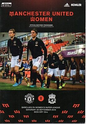 Manchester United Women v Liverpool Women 28 Sept 2019 Super League Programme