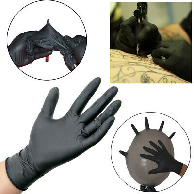 10/50/100 Pcs Comfortable Rubber Single Time Mechanic Nitrile Latex Gloves Black