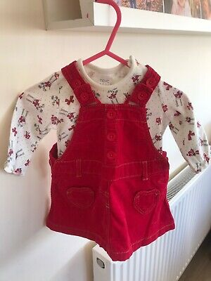 Beautiful NEXT 2 Piece Red Doggy Dress Set Baby Girl Heart Pockets - To 3 Months