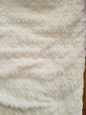 White Wool mix baby Soft with raised flower designs sewing crafts remnant 1m sq