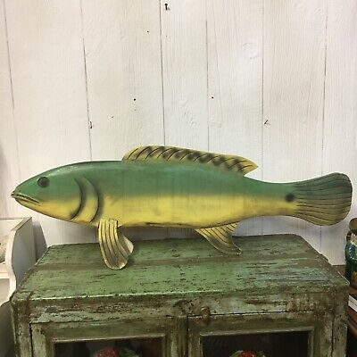 Vintage Carved Wooden Fish Folk Art Handmade Green Lake House Art Decoy Display