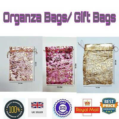 LUXURY PATTERNED Organza Gift bag Printed Jewellery Wedding favour Bag UK seller