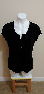 NWT $64 Chico's Travelers Black V-Neck Short Sleeve Acetate Top Size 2