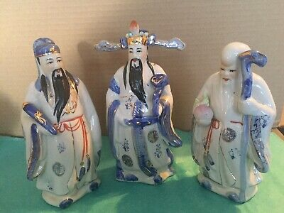 Porcelain Chinese Deities Figures: Fu, Lu, Shou
