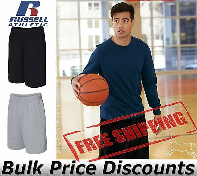"""Russell Athletic Mens Essential Jersey Cotton 10"""" Shorts with Pockets 25843M"""