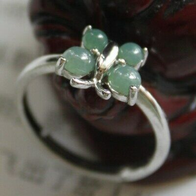 Size 6 1/2 Certified Natural Type A Untreated Green Jadeite JADE Ring 925 Silver