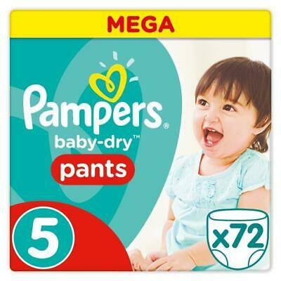 Pampers Baby-Dry Pants Taille 5 - 12 a 17 kg - 72 Couches-culottes - Mega Pack
