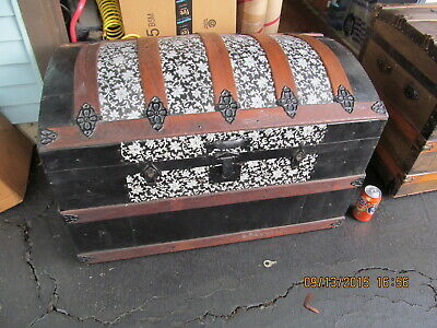 Antique Steamer Dome Camel Top Victorian Wedding Brides Trunk - Chest 1890's