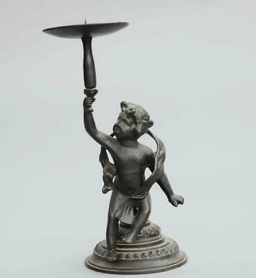 China old Bronze Hand-Carved Lovely Angel Statue Delicate Candlestick /Tb02