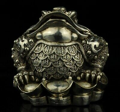 China Tibet old Copper Plating Silver Casting toad and Sycee Collect Statue f01