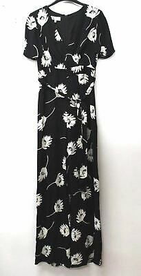 HOBBS Ladies Black Ivory Short Sleeve Wide Leg Floral Alexis Jumpsuit UK12 NEW