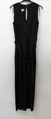 HOBBS Ladies Black Jordana Sleeveless V-neck Wrap Up Waist-Tie Jumpsuit UK14 NEW