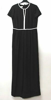 HOBBS Ladies Black Ivory Piping Cap Sleeve Pleated Effie Jumpsuit UK10 NWOT