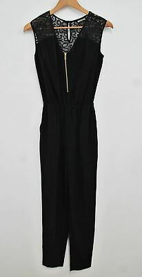 BIBA Ladies Black Lace Back V Neck Zipper Sleeveless Straight Leg Jumpsuit UK6
