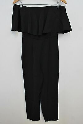 MINT VELVET Ladies Black Off Shoulder Ruffle Neckline Straight Leg Jumpsuit UK6