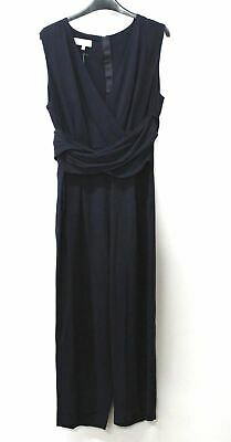 HOBBS Ladies Navy Blue Cropped Wide Leg Waist Tie Emmeline Jumpsuit UK14 NEW