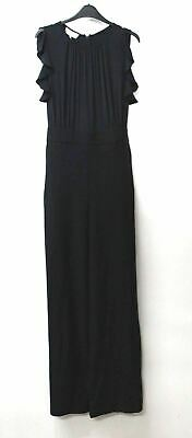 HOBBS Ladies Navy Blue Sleeveless Crew Neck Ruffle Florentine Jumpsuit UK12 NEW