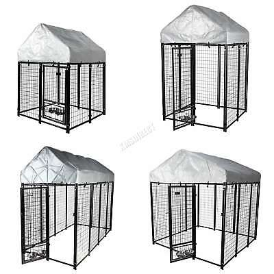 FoxHunter Heavy Duty Large Metal Dog Kennel Outdoor Run Cage with Canopy Roof