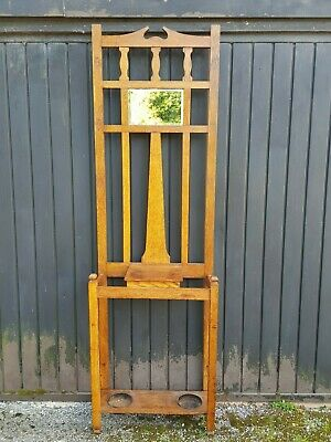 An Attractive Arts & Crafts Style Vintage/Antique Oak Hall Stand with Mirror