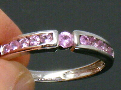 9ct Gold Pink Sapphire Hallmarked Eternity ring size M