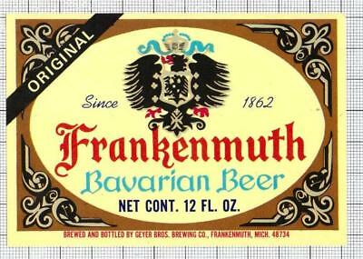 US Geyer Bros.Brewing Co,Frankenmuth BAVARIAN 12oz beer label C1928 947