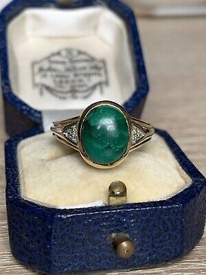 Huge 9ct Gold Malachite And Diamond Ring